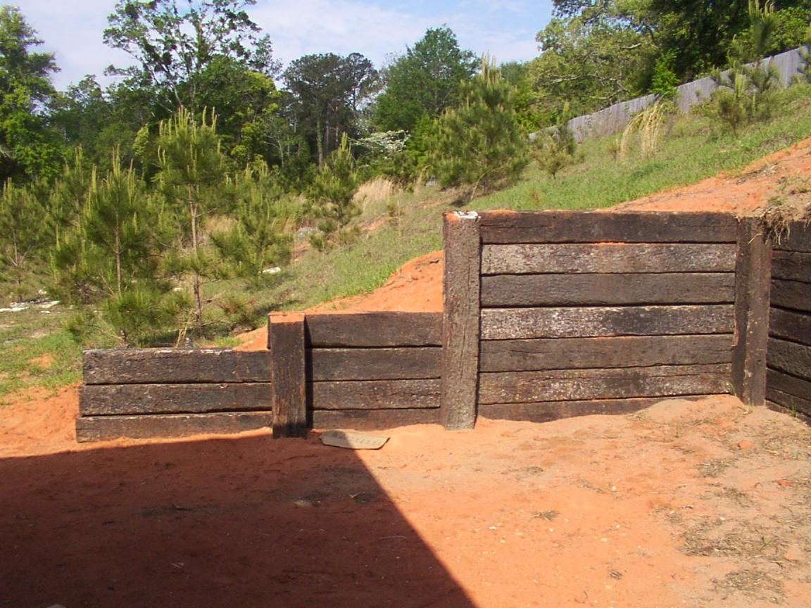 One Of NINE Approved Railroad Tie Retaining Walls In Phase